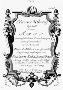 ゴルトベルク変奏曲の楽譜表紙
