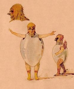 卵の殻をつけた雛の踊り