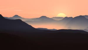 アルプスの日没