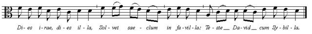 グレゴリオ聖歌「怒りの日」譜例